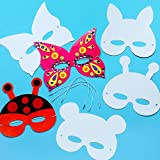 Masken zum Basteln und Ausmalen - Tiere - für Kinder ideal zum Kindergeburtstag und Karneval - 12 Stück