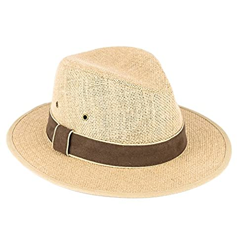 Men's Ladies Plain Woven Fedora Hat With Faux Swade Band 100% Linen - Tan Brown (57/M)