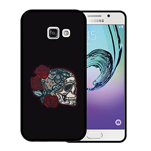 WoowCase Funda Samsung Galaxy A3 2017, [Samsung Galaxy A3 2017 ] Funda Silicona Gel Flexible Dia de los Muertos Mexican Calavera y Rosas, Carcasa Case TPU Silicona - Negro