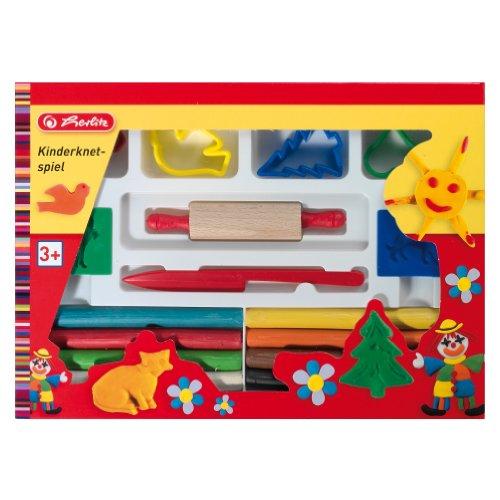 Herlitz 8770653 Kinderknetspiel- Wachsknete inkl. Zubehör in einer Pappschachtel, 16teilig (Plastilina Knetmasse)