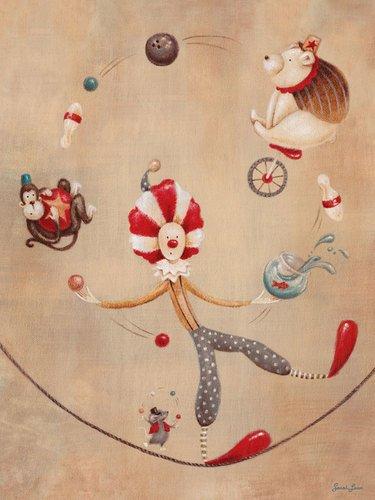 Circus Leinwand (Oopsy Daisy, Fine Art für Kinder Vintage Circus Clown Gespannte Leinwand Kunst von Sarah Lowe, 18 by 24-Inch)