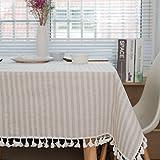 Meiosuns Nappe Rayée Nappe Fringe Nappe en Coton Simple Usage Intérieur Extérieur (Abricot/Rayures Blanches, 120 x 160 cm)