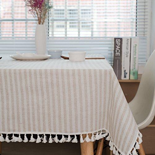 Meiosuns Mantel a Rayas Mantel a Rayas Mantel de algodón Simple Uso Interior y al Aire Libre (Albaricoque/Rayas Blancas, 140 x 220 cm)