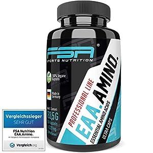 EAA 150 Kapseln, 1000 mg pro Kapsel, Vergleichssieger 2019*, Essentielle Aminosäuren, Vegan – Made in Germany – FSA Nutrition