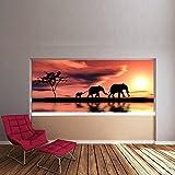 azutura Elefanten Sonnenuntergang Wandbild Dschungel Tier Foto-Tapete Kinder Schlafzimmer Haus Dekor Erhältlich in 8 Größen Extraklein Digital