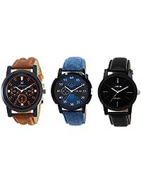 Om Designer Analogue Multicolor Brown Blue Black Dial Men's & Boy's Watch (Pack Of 3) #New Arrival 252