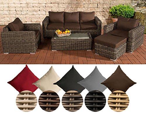 CLP Polyrattan-Lounge MADEIRA inklusive Polsterauflagen | Gartenmöbel-Set bestehend aus einem 3er-Sofa, zwei Sesseln einem Loungetisch und einem Hocker | In verschiedenen Farben erhältlich Bezugfarbe: Terrabraun, Rattan Farbe braun-meliert