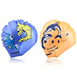 Kids Swim Cap 2-Pack,Mee'sport Fun Silicone Critter Cute Cartoon Shark with Timid Fish Dolphins Shaped Pattern for kids Children Boys Girls Waterproof Bathing Cap Durable and High Elastic Blue Orange