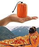 HONYAO Sacco a Pelo d'Emergenza, Coperta di Sopravvivenza Riutilizzabile, Coperta di Isolamento Termico di Primo Soccorso per Outdoor Campeggio Trekking Viaggiare Arancione