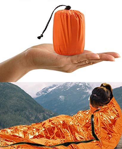 HONYAO Sacco a Pelo d\'Emergenza, Coperta di Sopravvivenza Riutilizzabile, Coperta di Isolamento Termico di Primo Soccorso per Outdoor Campeggio Trekking Viaggiare Arancione