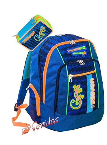 ZAINO SCUOLA SEVEN NEW ADVANCED GECKO BOY BLU + ASTUCCIO 3 ZIP SCHOOLPACK