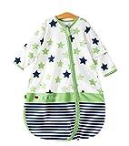 Chilsuessy Unisex Baby Sommer Schlafsack Decke mit abnehmbar Langarm aus 100% Baumwolle Sommerschlafsack 0.5 Tog Schlafanzug für Mädchen und Jungen von 70-125cm, Gruen, 85/Koerpergroesse 80-90cm