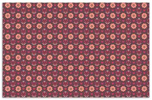 Wallario Herdabdeckplatte/Spritzschutz aus Glas, 1-teilig, 80x52cm, für Ceran- und Induktionsherde, Motiv Muster mit Blumen und Herzen