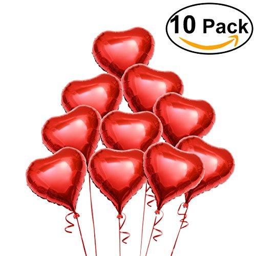 Preisvergleich Produktbild PIXNOR 10 Stück Folie Helium-Luftballon Rot Deko-Herz