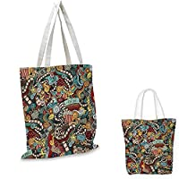 "Doodle Shopping Tote Bag Cinema Items Combined in an Abstract Style Popcorn Movie Reel The End Theatre Masks Travel Shopping Bag Multicolor. 14""x16""-11"""