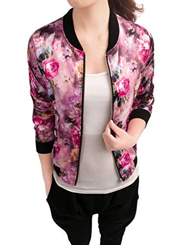 Allegra K Damen Langarm Reißverschluß Stehkragen Blumen Bomberjacke Jacke, XS (EU 34)/Fuchsie - Floral Print Cropped-jacke