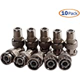 Conwork 10-Pack F Female To BNC Male Coax RF Connector RG6 RG59 Adapter