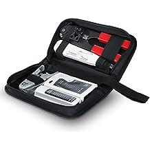 CSL - Tester de cables de red para cable RJ45-/RJ11   Comprobador de cables de conexión / Comprobador de conductividad   Dos velocidades distintas   Selector On/Off