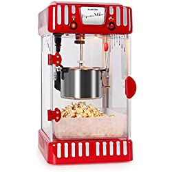 Máquina de palomitas (diseño retro años 50, 300 W, agitador extraíble, ventana panorámica, iluminación interna, cerradura magnética, olla acero inoxidable) - rojo