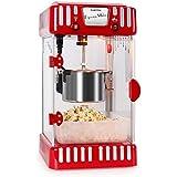 Klarstein Volcano Machine à pop corn style rétro (300 W, bol amovible de 74 mL, bras mélangeur, éclairage interne, réceptacle à pop-corn facile d'entretien) - rouge