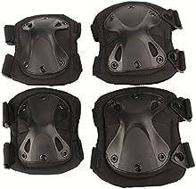 Airsoft táctico ajustable de la rodilla del codo almohadillas protectoras Conjunto de protección de engranajes Deportes Caza de ratón Shooting Negro