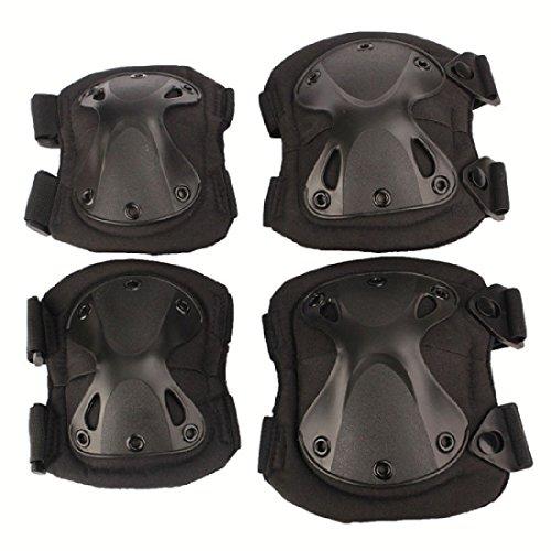 joyliveCY Airsoft taktisches Verstellbare Knie Ellenbogen Schoner Set Protektoren Sport Jagd Schießen Pads (Elbow Taktische Schwarz Pad)