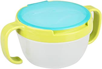 Forberesten Snack Catchers Bowl Dishes Baby Snack Feeding Container Holder with Two Handle, Green