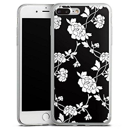 Apple iPhone 8 Plus Slim Case Silikon Hülle Schutzhülle Blumen Muster Schwarz Silikon Slim Case transparent