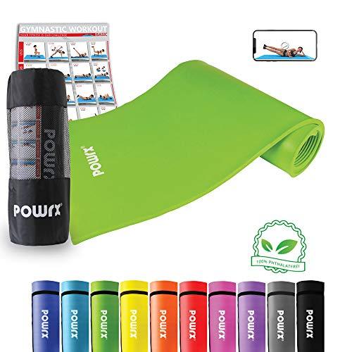 POWRX Gymnastikmatte Trainingsmatte Pilatesmatte Phthalatfrei 190 X 60 X 1.5 cm oder 190 x 100 x 1.5 cm in verschiedenen Farben (Grün, 190 x 100 x 1.5 cm)