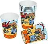 8 Becher * BAUSTELLE * für Mottoparty und Kindergeburtstag von TIB // Kinder Geburtstag Party Fete Set Jungen Pappbecher Partybecher Cups Bauarbeiter