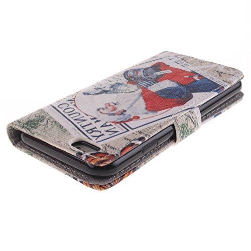 Ekakashop iPhone 6 Cover, iPhone 6S Custodia in pelle, Copertura di Vibrazione pelle con Magnete Flip Carina Balena Blue Case Stile del Libro di pelle della Protezione di caso del basamento della Cope Natale