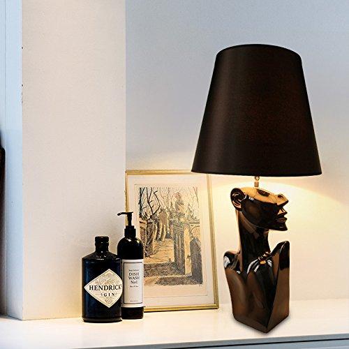 DHG Moderne minimalistische Harz Schreibtischlampe, Elegante Charakterbeleuchtung, Schlafzimmer Nachttischlampe,schwarz,Einheitsgröße -