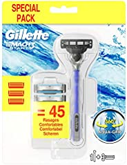 Gillette Mach3 Start Maquinilla de Afeitar Hombre con Mango Aqua Grip + 3 Cuchillas de Recambio