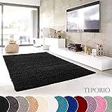 Shaggy-Teppich | Flauschiger Hochflor fürs Wohnzimmer, Schlafzimmer oder Kinderzimmer | einfarbig, schadstoffgeprüft, allergikergeeignet in Farbe: Schwarz; Größe: 120 cm rund