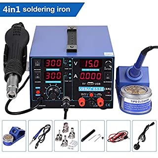 YiHua Soldering Station 4 in 1 853D USB 2A Rework Station Hot Air Gun Soldering Iron DC Power Supply