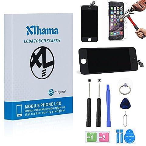 Xlhama Ecran LCD Vitre Tactile de Remplacement Retina Display Complet pour iPhone 5 Noir avec Outils de Réparation Manuel d'instructions et Feuille en Verre Trempé