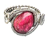 Thulite, Thulite 925 Argento Sterling Anello 8.5
