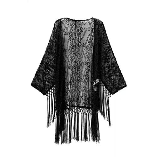 AMUSTER Moda Donne Vedere Attraverso Pizzo Kimono Cardigan Camicia Camicetta Nappe Top Coat Nero