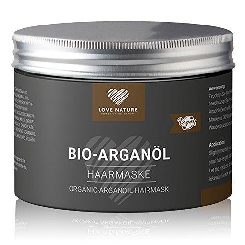 Love Nature BIO Arganöl Haarmaske | Einführungsangebot | Conditioner Haarkur 200ml | mit Shea Öl und Lecithin | Frei von Parabenen, Sulfaten und Paraffinen | Hergestellt in Deutschland | Vegan