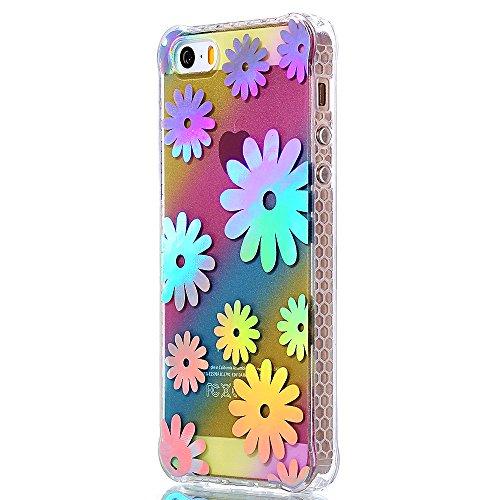 """iPhone 5s Silikonhülle, Mode Elegante CLTPY iPhone SE Slim Fit Schutzfall Funkelnder Glänzend Plating Design Case mit Verstärkte Ecken, Ultra Schlanke Hybrid Schale Fall für 4.0"""" Apple iPhone 5/5s/SE  Chrysantheme"""