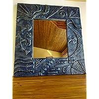Espejo decorativo de pared con marco de madera reciclada de palet hecho a mano