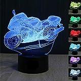 3D moto Nuit LED Lampes Art Déco Lampe la couleur changeant lumières LED, Décoration Décoration Maison Enfants Meilleur cadeau, Lumière Touch Control 7 couleurs Change