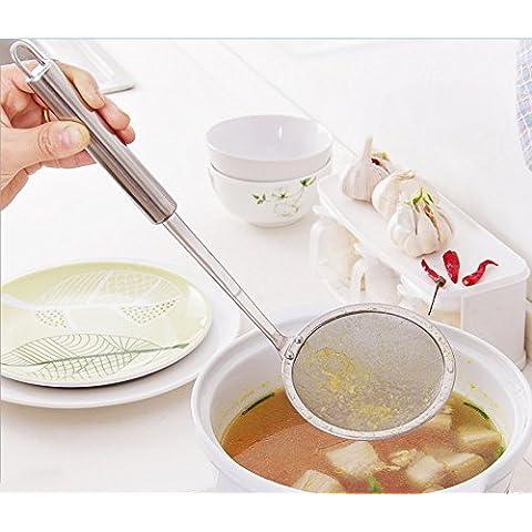 asentechuk® in acciaio inox colino ultrafine Oil Skimmer rete colino cucchiaio filtro zuppa colino da cucina strumento