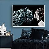xingbu Kein frameWitch Girl Big Cat Fantasie Leopard Tiere Poster Und Drucke Skandinavien Nordischen...