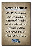 Hochwertiges Metallschild 30 x 20 cm aus Alu Verbund Camping Regeln Deko Schild Wandschild