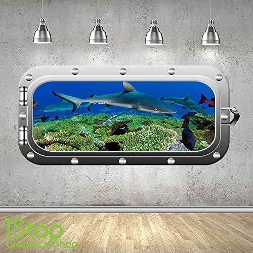1Stop Graphics Shop Shark Bullauge Wandaufkleber 3D Optik - Meer Delphin Fenster Aufkleber z396 - Small: 40 cm x 89 cm