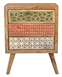 #5: VINTAGE Hand Painted Ethnic Sheesham wood (Rosewood) Bedside Table / Hallway cabinet (Brown) for Bed Room furniture