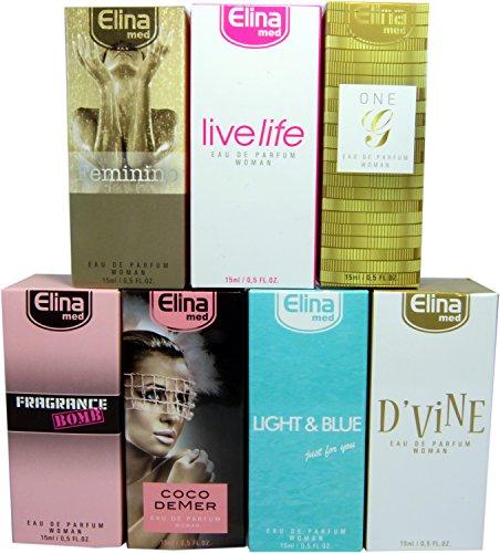 Set de 7 (siete) Perfumes de Primera Calidad Importados-ref24-. 15 ml Cada uno en botella de lujo con caja y atomizador 7 fragancias concentradas para mujer.