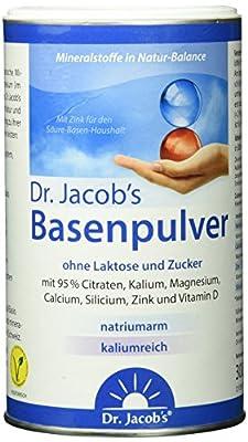 Dr. Jacob's Basenpulver ohne Laktose und Zucker mit 95 % Citraten, Kalium, Magnesium, Calcium, Silicium, Zink und Vitamin D, 1 Dose 300g - 66 Portionen