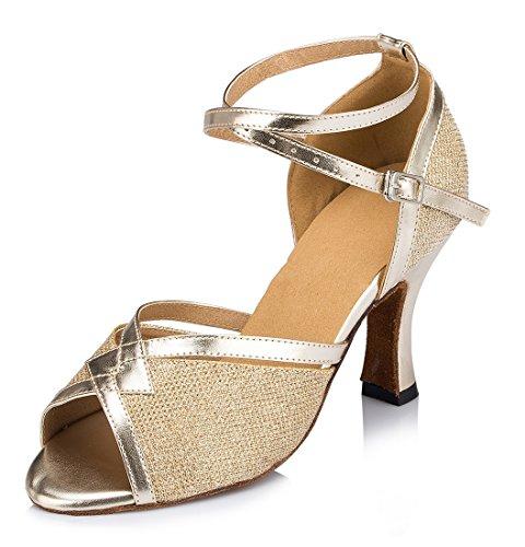 TDA ,  Damen Knöchel-Riemchen 8cm Heel Gold